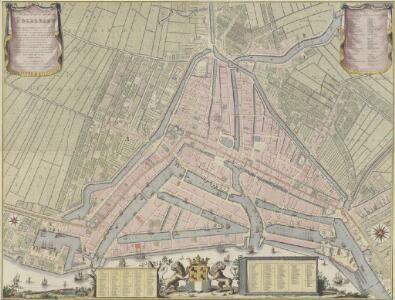 Nieuwe platte grond der stad Rotterdam, gelegen aan de rivieren de Maas en de Rotte, met al de publique en kerkelijke gebouwen binnen dezelve staande ...