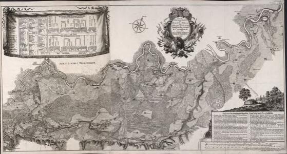 Accurate Special-Charte der Gegend des Rheins, von Ettlingen, Carls Ruhe, Philippsburg, Bruchsal, bis Mannheim, etc. Entworffen