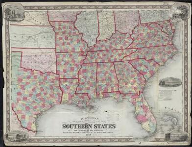 Johnson's new rail road & county copper plate map of the Southern States from the latest and best information