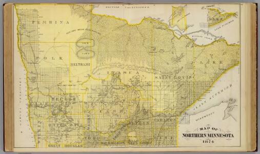 Map of Northern Minnesota, 1874.