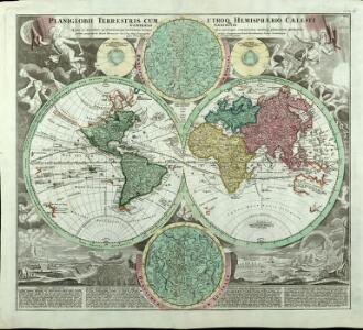 Planiglobii Terrestris Cum Utroq[ue] Hemisphaerio Caelesti Generalis Exhibitio