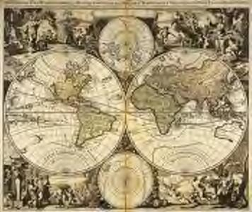 Mappe-monde geo-hydrographique, ou description generale du globe terrestre et aquatique en deux-plans-hemispheres