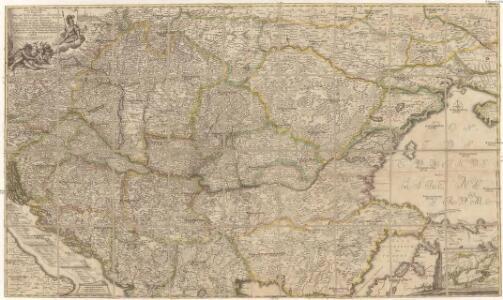 Accurate Landkarte die Königreiche Ober- und Nieder- Hungarn, Slavonien, Croatien, Dalmatien, Bosnien, Servien, Bulgarien, und Romanien, das Groß Fürstenthum Siebenbürgen, die Fürstenthümer Moldau, Wallachen, Bessarabien, die Oczakowisch- und Crimische Tartaren, die pohlnische Provinz Podolien, wie auch ein Theil von Ukranien, und übrige angränzende Ländern vorstellend