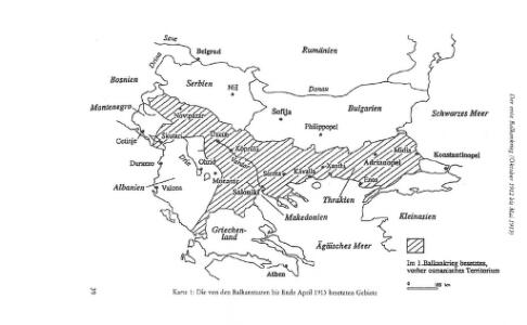 Die von den Balkanstaaten bis Ende April 1913 besetzten Gebiete
