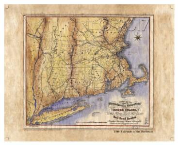 Railroad Map Featuring Many Northeastern States Rhode Island Connecticut Massachusetts