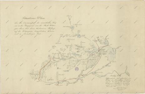 Situační plán vodní soustavy v jihozápadní části Třeboňské pánve
