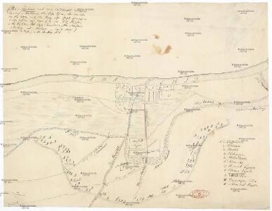 Plan v. Schabacz, nach einem handschriftlichen Entwurf in Karlowicz, ohne Jahr, Ufen., der mir aber von dem letzten türkischen Krieg, also 1788 gemacht u. zu seyn scheint, mir einer Liste von 100 Dörfern in den Districten Pod-Cerje, Tamlawa, am Savstrom aber aus und Máčwa