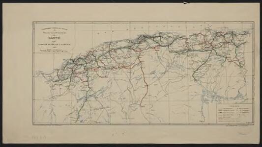 Carte des chemins de fer de l'Algérie. Projet d'un 3e emprunt