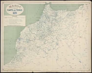 Maroc au 1 500 000e. Carte des tribus. 1935