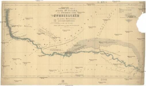Podrobná mapa (číslo 3.) plavby D.ra Holuba po středním toku Zambesijském od zátoky Makumbské až ku slapu Mambveskému v jižní zemi Barocké