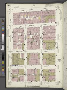 Manhattan, V. 3, Plate No. 23 [Map bounded by E. 9th St., Broadway, W. 4th St., Washington Sq.]