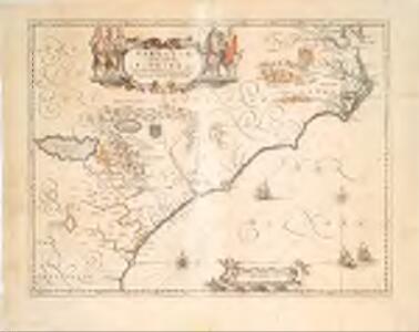 Virginiae partis australis et Floridae partis orientalis interjacentimq[ue] regionum, nova descriptio.