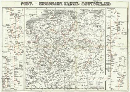 Post- und Eisenbahn- Karte von Deutschland