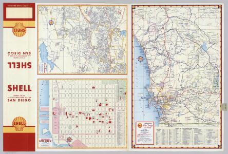 Street Map of San Diego (Eastern Section).  Downtown San Diego.  Metropolitan San Diego and Vicinity.