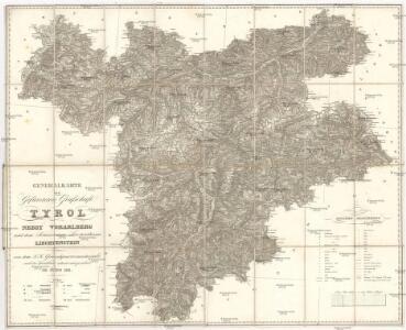 Generalkarte der gefürsteten Grafschaft Tyrol nebst Vorarlberg und dem souverainen Fürstenthume Liechtenstein