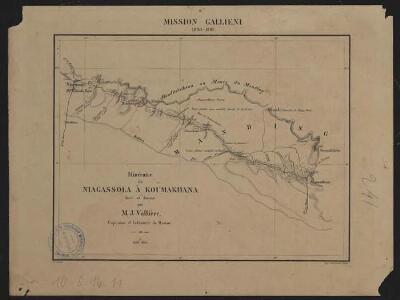 Mission Galliéni 1880-1881. Itinéraire de Niagassola à Koumakhana