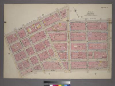 Plate 9, Part of Section 1: [Bounded by N. Moore Street, West Broadway, Franklin Street, Broadway, Reade Street and West Street.]
