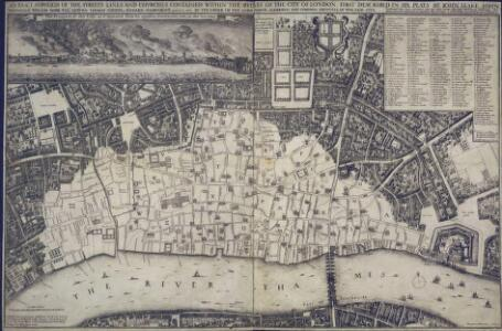 An exact Surveigh of the Streets, Lanes, and Churches contained within the ruines of the City of London, first described in six plats