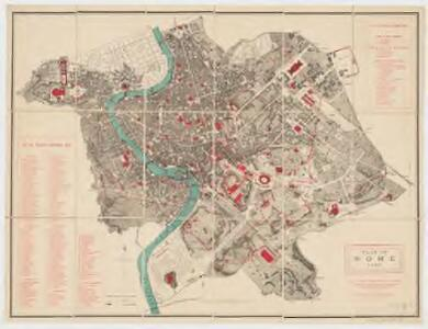 Plan of Rome 1887 : the ancient monuments, the gates, and the other important places are coloured red; the numbers correspond with those in the accompanying lists