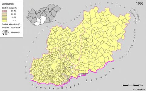 A szerbek aránya és száma a Dél-Dunántúlon és Bács-Kiskun megyében 1880-ban