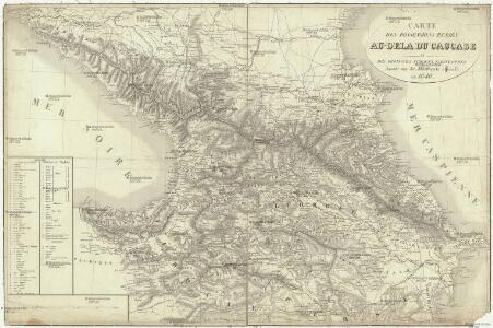 Carte des possessions russes au-dela du Caucase et des provinces turques limitrophes