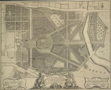 Plan Generale du Palais & Jardins de Kensington Situe dans la Conte de Middlesex a 2 miles de Londres tres Exactement Leve dessiene & Grave par Jean Rocque 1736