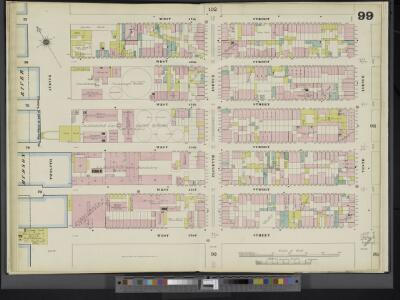 Manhattan, V. 5, Double Page Plate No. 99 [Map bounded by W. 47th St., 10th Ave., W. 42nd St., Hudson River]