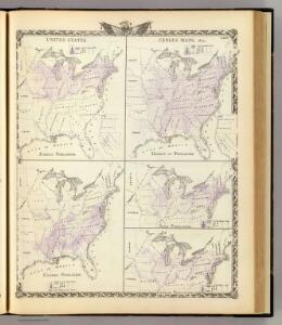 United States census maps, 1870: foreign, density, colored, Irish and German.