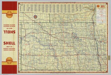 Shell Highway Map of North Dakota.