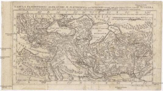 Tabvla expeditionis Alexandri M. Macedonis, in qua ditiones omnes, quae ejus jugum subire coactae, itinera quoq[ue] juxta seriem locorum, quae ipse cum exercitu adiit