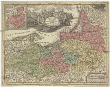 Borussiae regnum cum adjacentibus regionibus mappa geographica delineat