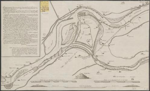 Caarte van de rivieren ontrent Schenkenschans met de geconcipieerde doorsnydinge over 't Spijk ...