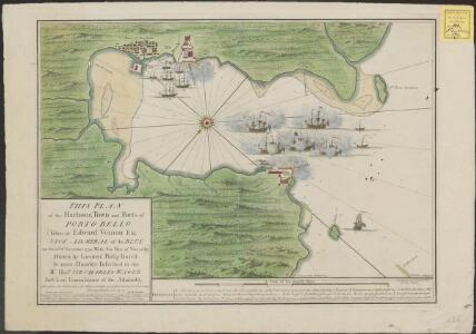 This plan of the harbour, town and forts of Porto Bello (taken by Edward Vernon Esq.r, Vice Admiral of the Blue on the 22nd of November 1739, with six men of war only)