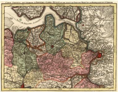 Carte Particul. des Environs d'Anvers, Gand, Hulst, et de tout le Pays de Waes. et la Marquisat du St. Empire