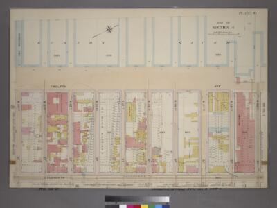 Plate 40, Part of Section 4: [Bounded by Twelfth Avenue (Hudson River Piers), W. 59th Street, Eleventh Avenue and W. 50th Street.]