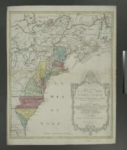 Carte nouvelle de l'Amerique angloise : contenant tout ce que les Anglois possedent sur le continent de l'Amerique septentrionale savoir le Canada, la Nouvelle Ecosse ou Acadie, les treize provinces unies qui sont: les quatres colonies de la Nouvelle Ang