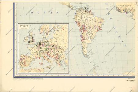 Hospodářská mapa světa - těžba nerostných surovin