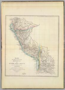 Mapa, Ecuador, Peru y Bolivia, 1826.