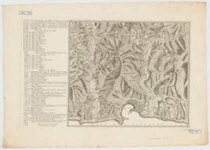 Carte géometrique de la ville et des environs de Gene : ou on voit l'expedition des Imperiaux et Piemontois contre le Genois et leurs alliez avec les differents postes, retranchements, attaques, déffenses, et mouvements de deux parties, le tout deßine sur le lieux, et de la maniere la plus exacte dans l'année 1747