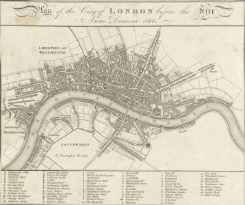 Plan of the City of LONDON before the Fire Anno Domini 1666.