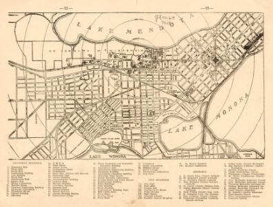 Map of Madison, Wisconsin, Showing Street Plan, Location of University Grounds and Buildings, Churches, and Principle City Buildings