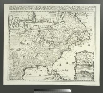 Carte de la Nouvelle France: où se voit le cours des Grandes Rivieres de S. Laurens & de Mississipi, aujour d'hui S. Louïs, aux environs des-quelles se trouvent les etats, païs, nations, peuples &c. de la Floride, de la Louïsiane, de la Virginie, de la Marie-lande, de la Pensilvanie, du Nouveau Jersay, de la Nouvelle Yorck, de la Nouv. Angleterre, de l'Acadie, du Canada, des Esquimaux, des Hurons, des Iroquois, des Ilinois &c., et de la Grande Ile de Terre Neuve / dressée sur les memoires les plus nouveaux recueillis pour l'établissement de la Compagnie françoise occident.
