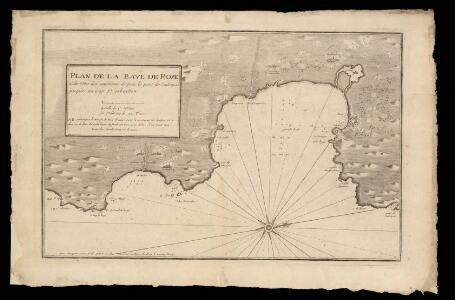 Plan de la baye de Rose et des côtes des environs depuis le port de Cadequié jusques au cap St. Sebastien / par Iacques Ayrouard, pilote royal ; L. Corne sculp.