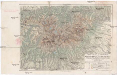 Terrain- und Höhenkarte der Hohen Tatra in den Central-Karpaten