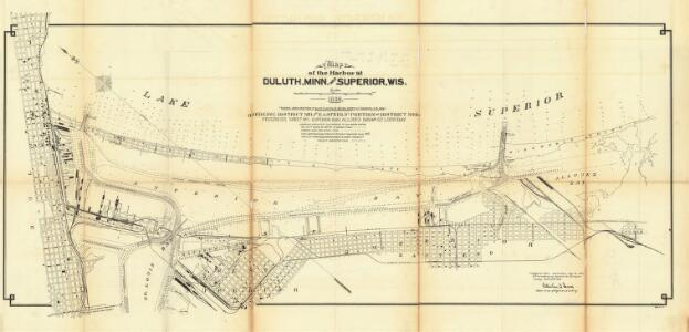 Map of the harbor at Duluth, Minn., and Superior, Wis. progress sheet no. 1 : dredging district N21 and easterly portion of district N22
