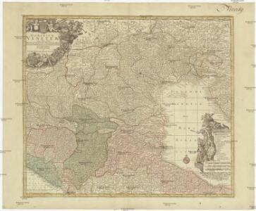 Dominium Venetum cum adjacentibus Mediolan. Mantuano, Mutinensi, Mirandolano, Parmensi, Placentino ducatibus, nova delineatione ob oculos positum