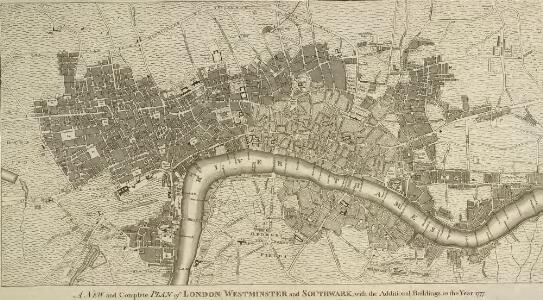 A NEW and Complete PLAN of LONDON WESTMINSTER and SOUTHWARK, with the Additional Buildings to the Year 1777.
