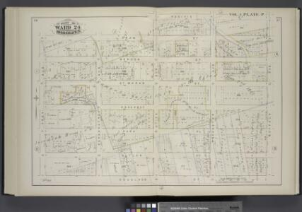 Vol. 1. Plate, P. [Map bound by Dean St., Pacific St., Buffalo Ave., Douglass St., Troy Ave.; Including Bergen St., St. Marks St., Prospect Pl., Park Pl., Butler St., Schenectady Ave., Utica Ave., Rochester Ave.]