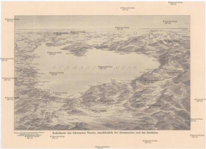 Reliefkarte des Schwarzen Meeres, einschließlich der Dardanellen und der Kaukasus