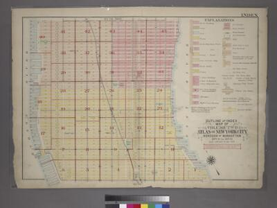 Outline and Index Map of Volume Two, Atlas of New York City, Borough of Manhattan. 14th Street to 59th Street.